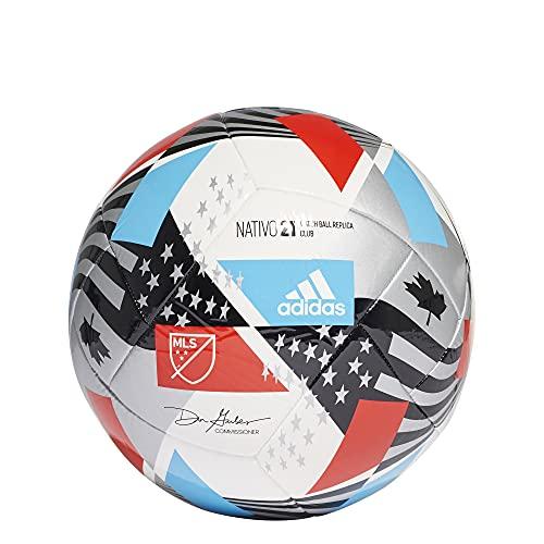 adidas MLS Club Soccer Ball,White Black Silver Metallic Pantone,5