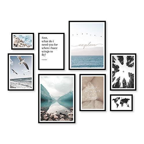 ARTFAVES Poster Set - FERNWEH | Deko Reisen blau | 8 Moderne Wandbilder Premium Mix | 30x40-21x30-13x18 | Bilder Wohnzimmer, Schlafzimmer | ohne Rahmen