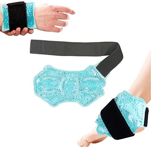 Adofect Ankle Foot Gel Ice Pack with Cloth Backing Hot Cold Wrap with Adjustable Brace for Sprained product image