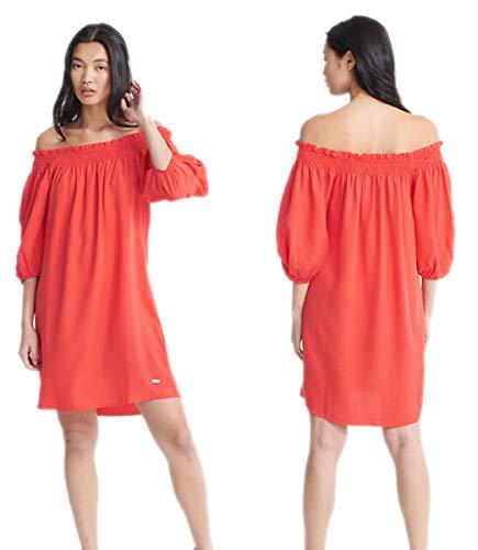 Superdry Damen Sommerkleid Desert Off Shoulder Dress Kleid Bardot-Ausschnitt Rot XL