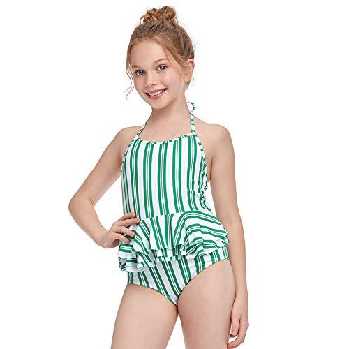 Gpure Bañador Niña 2-12 Años de 6 Tamaños Bikinis Trajes de Baño de Una Piezas Sin Manga Cabestro Ajustable Rayas Verticales Verano Neopreno 2 Colores Falda Deportiva