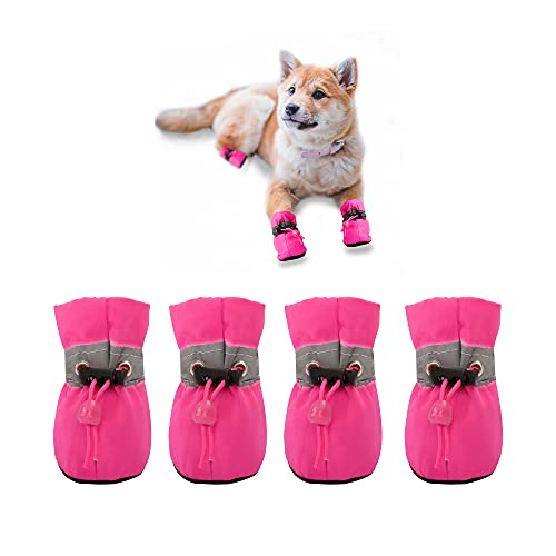 YAODHAOD Protector de Pata de Botas para Perros, Zapatos para Perros Antideslizantes, Estos Cómodos Zapatos Suave Tienen Correas Reflectantes, para Perros Pequeños (6, Rosado)