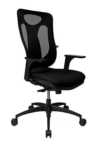 Topstar Net Pro 100 inklusive höhenverstellbaren Armlehnen Bürostuhl, Stoff, schwarz, 59 x 56 x 120 cm
