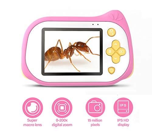 Kinder-Minikamera mit Mikroskop-Funktion, 200X Lupe Digital-Mikroskop 15MP 4K Compact Starter-Kamera Video-Player für 3-10 Jahre alt Jungen Mädchen,Rosa