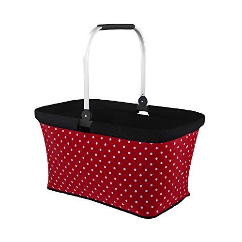 LOMOS Faltbarer Einkaufskorb mit komfortablem Henkel, Größe L, in rot mit weißen Punkten