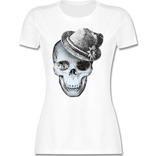 Oktoberfest & Wiesn Damen - Totenkopf mit Filzhut - M - Weiß - trachtenshirt Damen XXL - L191 - Tailliertes Tshirt für Damen und Frauen T-Shirt