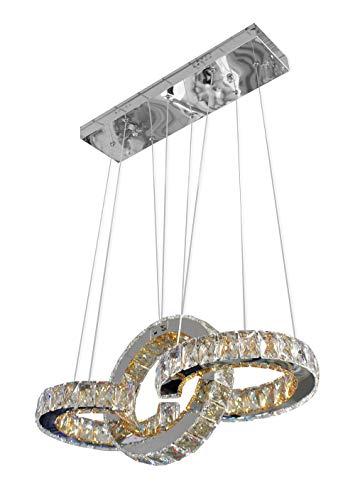 Vetrineinrete Lampadario moderno a sospensione cristalli in acrilico e specchio 30 watt luce bianca 6500k altezza regolabile incrociati illuminazione casa ufficio negozio Z36