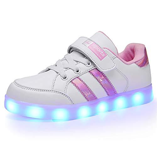 Licy Life-UK Kinder Junge Mädchen 7 Farbe USB Aufladen LED Schuhe Leuchtend Sportschuhe Farbwechsel Sneaker Turnschuhe für Junge Mädchen Geburtstagsgeschenk
