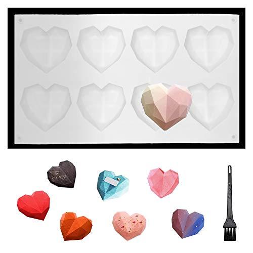 SwirlColor 3D Herzform Silikon, Diamantform Backform für die Herstellung von Kleinen Kuchen Schokolade 1 Stück, mit Reinigungsbürste 1 Stück