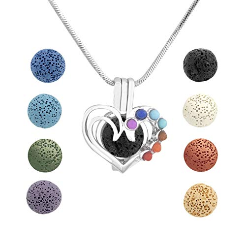 Essential Oil Diffuser Necklace Heart Aromatherapy Locket Pendant With 8 Lava Stone Balls (Heart)