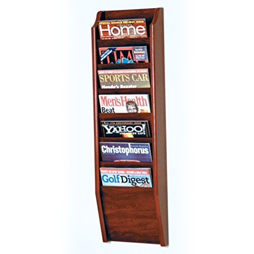 Wooden Mallet 7-Pocket Cascade Magazine Rack, Mahogany