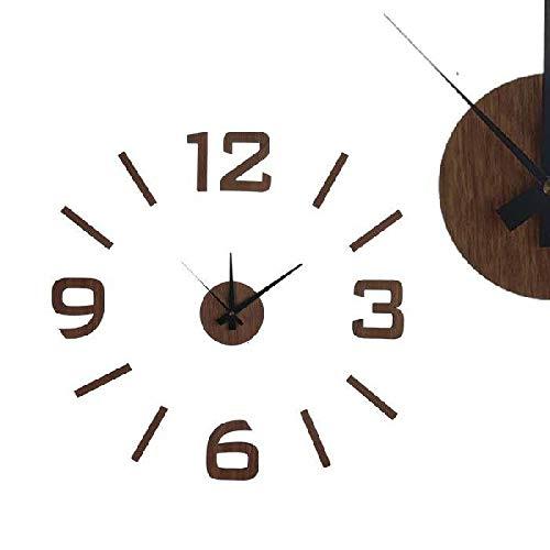 Dcasa Adhesivo Efecto Madera Relojes de Escritorio Decoración del hogar Unisex Adulto, Color, 60X60 CM