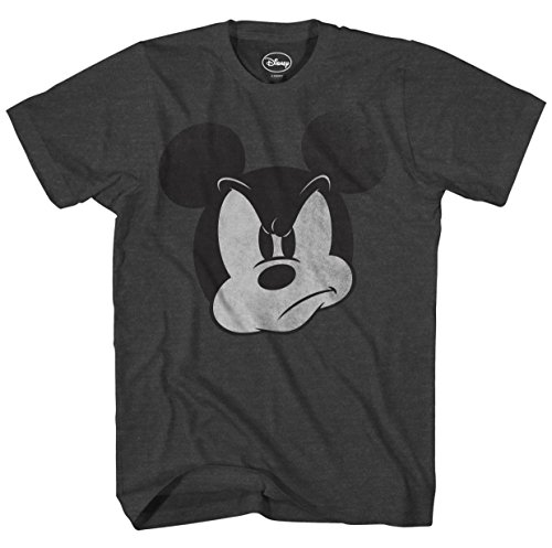 Disney Mad Mickey Mouse Adult Mens T-Shirt (Large, Heather Charcoal)