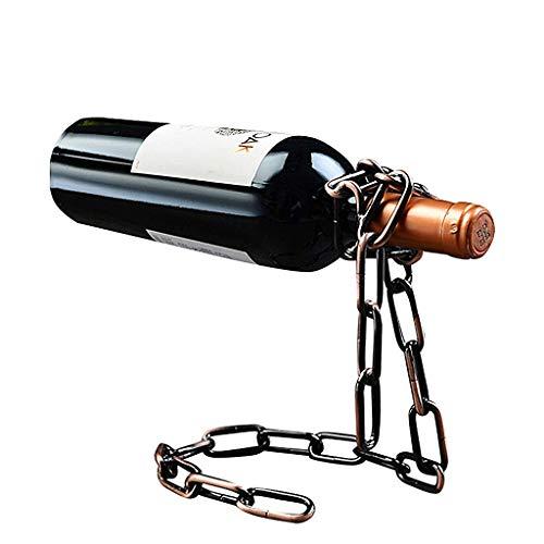 JUNYYANG Cadena de Metal Titular de la Botella de Vino mágico Flotante Vino embotellador Titular Flotante de la ilusión del Estante del Soporte