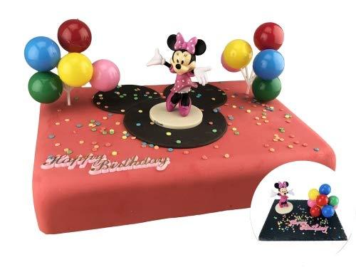 Tortendekoration Kindergeburtstag   Cake Company Tortendekoration Minnie Maus mit Luftballons und Zuckerstreusel   Kuchen und Torten schnell und einfach dekoriert