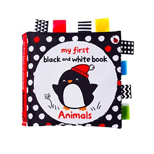 Toyvian 1 Stück Tuch Bücher Schwarz Weiß Label Tuch Buch Frühen Pädagogischen Tuch Buch Frühen Lernspielzeug Baby Shower Geschenk für Säugling Kinder Kleinkind