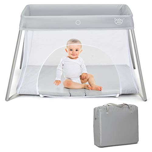 Cheap BABY JOY Baby Foldable Travel Crib, 2 in 1 Portable Playpen with Soft Washable Mattress, Side ...