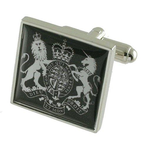 Herren-Manschettenknöpfe mit Wappen des Vereinigten Königreichs, massives 925er-Sterlingsilber, Schachtel mit Nachricht, personalisierbar