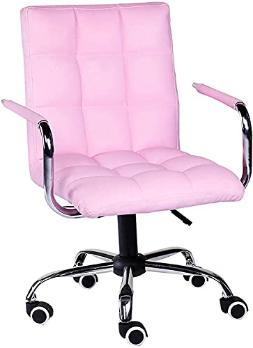 Barhocker Dekorativer Hocker Computerstuhl mit Rollen, Drehstuhl in PU-Lederoptik Home Meeting Room Office Task Chair Ergonomischer Barstuhl (Farbe: Pink, Größe: 48 78-89CM)