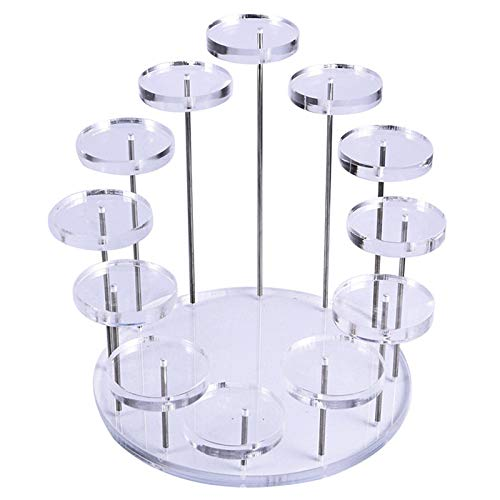 LotCow Acrylic Ring Jewelry Cake Display Stand Round Jewelry Rotating Ring Display Stand for Rings, Earrings, Jewelry, Minifigures Transparent 12 Round Base