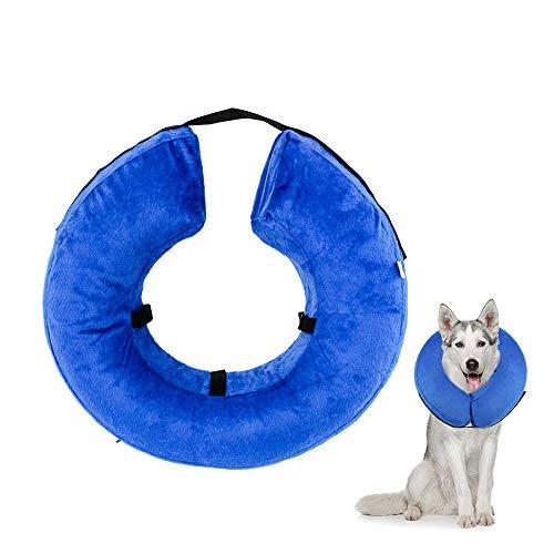 Gobesty Aufblasbar Halsband für Haustier Hund Katze Kragen, Weiches Schutzhalsband für Hunde mittelgrosse Hunde und Katzen, um Haustiere vor Rauen Stichen zu schuetzen, Groß
