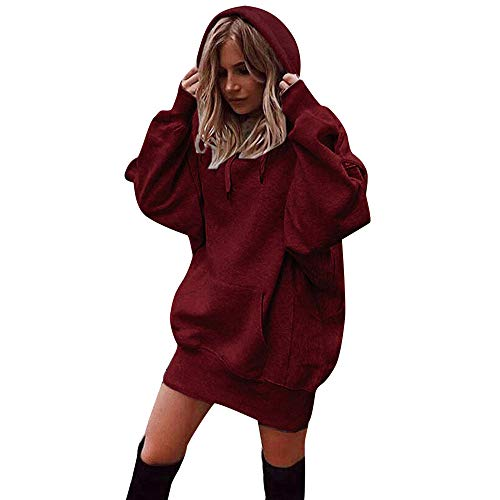 Xmiral Damen Sweatshirt Mode Baumwolle Einfarbig Kleidung Hoodies Kordelzug Pullover Mantel Lange Hoody (S,Rot)
