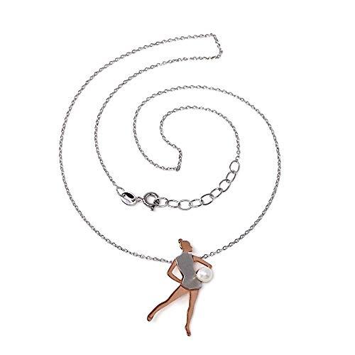Gargantilla plata Ley 925m bicolor 40cm gimnasia rítmica perla sintética pelota rosado plateado cierre reasa
