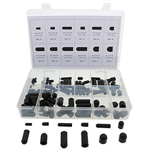 ABN Rubber Vacuum Cap 115-Piece Assortment Set – Automotive Carb Line & Hose Caps Kit for Carburetor, Manifold, & More