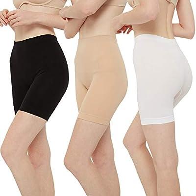 INNERSY Womens Slip Shorts for Under Dresses High Waisted Bike Shorts 3-Pack(L,Black Nude White)