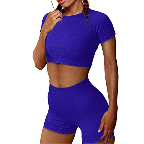 Damen Workout Set 2 Teile,Trainingsanzug Fitness Yoga Set Ribbed Stretchy Sportanzug Top + Leggings Sportwear Jogging Gym Sportkleidung Fitnessanzug Sonojie Frauen Sportanzug