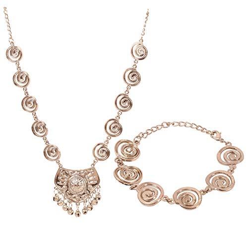 Touchstone Nuevo collar y pulsera indio de Bollywood fino Bibetan Art grabado en relieve con aspecto dulce de joyería de diseñador en tono plateado antiguo para mujer.