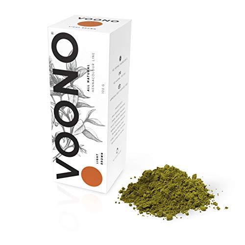 VOONO Pflanzenhaarfarbe Henna Hellbraun 100g I Naturhaarfarbe - 100% natürlich und vegan