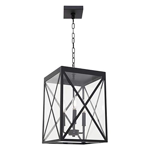 MELUCEE 3-Light Outdoor Chandelier Lighting Black Indoor Lantern Pendant Light Exterior Ceiling Light Fixtures with Clear Glass for Patio Porch Entryway