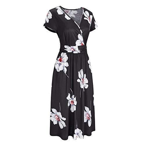 Lalaluka Vestidos de verano para mujer, hasta la rodilla, elegantes flores, pato, cuello en V, vestido de playa, vestido de cóctel, vestido bohemio, vestido de tiras, vestido de vaina, vestido