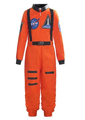ReliBeauty Boys Girls Kids Children Astronaut Role Play Costume, Orange, 8