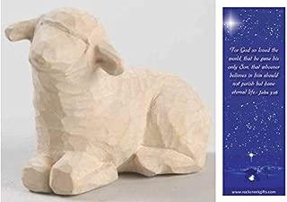 Willow Tree Resting White Sheep Individual Nativity Figurine with Nativity Bookmark