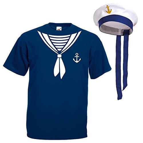 Shirt-Panda Herren T-Shirt · Matrosen Kostüm · wahlweise mit Mütze Karneval Gruppen Fasching Seemann Verkleidung Party Matrosenmütze Darts Unisex Hut · Marineblau (Druck Weiß) mit Mütze L