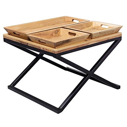 WOHNLING salontafel 60 x 47,5 x 60 cm acacia massief hout/metaal dienblad | design woonkamertafel vierkant | salontafel massief | kleine tafel woonkamer