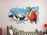 Dragon Ball Super Goku Vegeta Wall Decal 3D Sticker Vinyl Decor Mural Kids (22'W X 12'H)