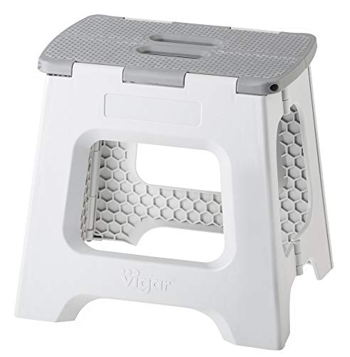 VIGAR Taburete Plegable Compact de Color Gris de 32 cm de Altura (8917)