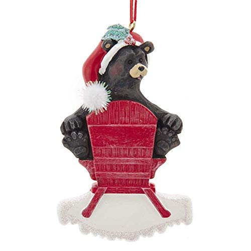 Kurt Adler A1852 Black Bear on Chair Ornament for Personalization, 4-inch High, Resin
