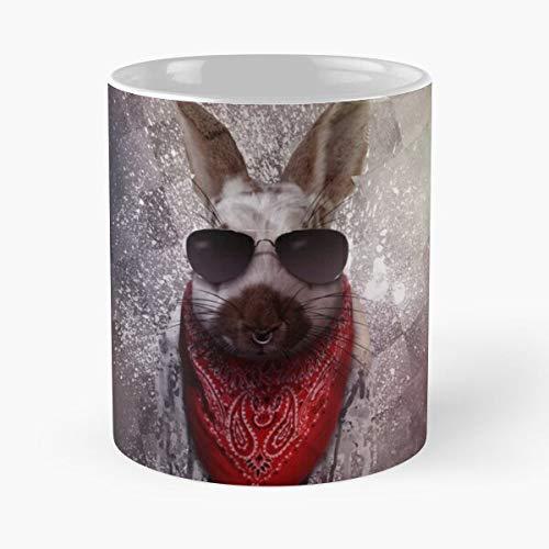 Surreal Grunge Sweet Rabbit Cool Wild Pixel Dark Destroyed Eat Food Bite John Best 11 Ounce Ceramic Coffee Mug