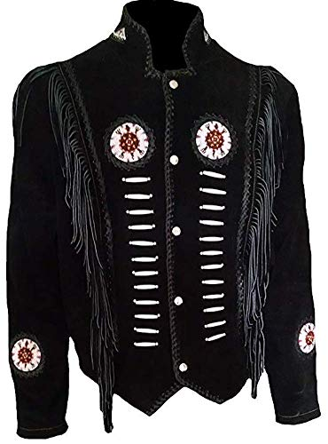 Classyak Western Suede Leather Jacket with Beads, Fringes and Bones, Xs-4xl (X-Large, Suede Black)
