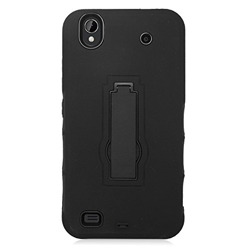Eagle Cell Hybrid Armor Protective Case with Stand for ZTE Quartz Z797C - Retail Packaging - ZZ0 Black/Black