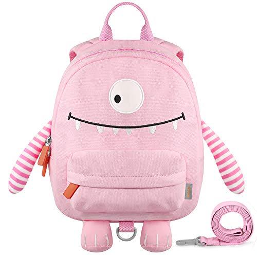 GAGAKU Kinderrucksack mit Brustgurt Mini Cartoon Kinder Rucksack für Mädchen 1-4 Jährige - Rose