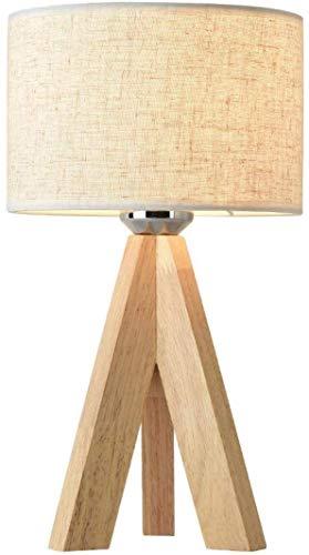 木製三脚ベッドサイドテーブルランプ、柔らかな光でシンプルなデザイン、装飾された寝室のオフィス用の暖かい白色LED電球付きアイボリーファブリックシェード