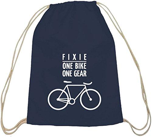 Shirtstreet24, Fixie - One Bike, Singlespeed Fahrrad Baumwoll natur Turnbeutel Rucksack Sport Beutel, Größe: onesize,dunkelblau natur