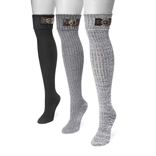 MUK LUKS Women's 3 Pair Buckle Cuff Over the Knee Socks - Black