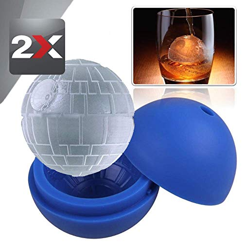 2x Ice Cube Tray Silicone Death Star Wars Ice Cubes for Whisky Ball Maker Silicone Mold 3' - Creates 2.5' Nice Unique Round Ice Cubes