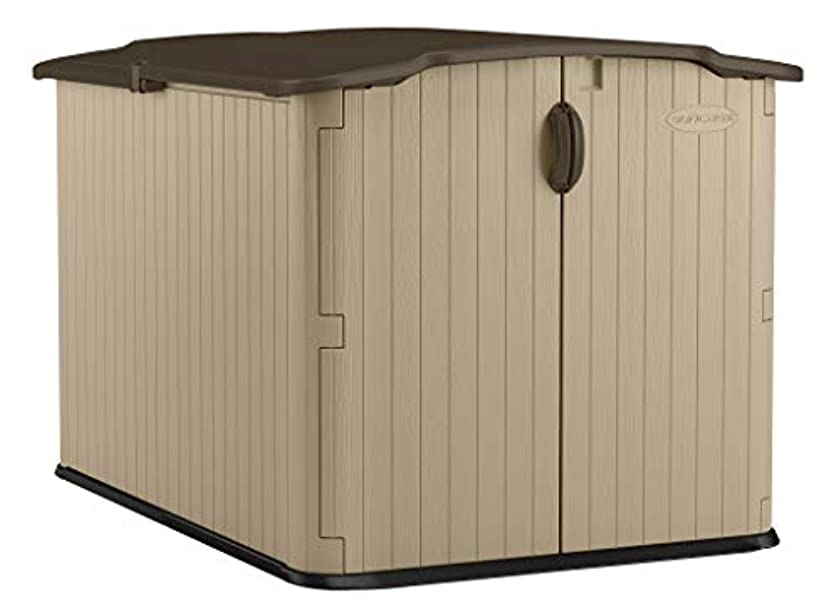 Suncast Glidetop Slide Lid Shed - Outdoor Storage Shed with Walk -In Access for Backyards - Lockable Storage for Bikes, Mowers, and Patio Furniture